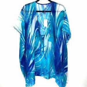 Echo Design Women's NEW Blue Palm Print Swim Cover